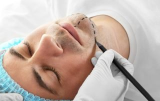 Man in plastic surgery clinic